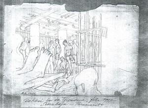 **De gevangenen in het ruim van de Tjisadane.
